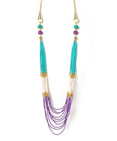 This Purple & Turquoise Beaded Multi-Strand Necklace is perfect! #zulilyfinds