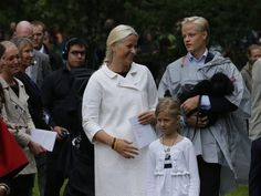 18 August 2013 Members of the Norwegian Royal Family  attend an outdoor church service in the the Queen's Park on the occasion of the Crown Princess Mette Marit 40th birthday.  Marius is becoming a hottie!