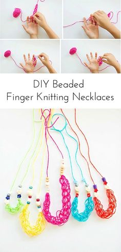 Easy Kid Made Colorful Beaded Finger Knitting Necklaces.