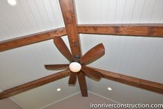 Wooden beams and a wooden fan