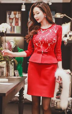 StyleOnme_See-through Floral Lace Peplum Dress #red #floral #lace #feminine #elegant #dress #koreanfashion #formal #kstyle #seoul #girlish #winter #christmas #partylook