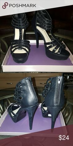 Call it Spring Black heels Black heels with platform. Zipper up back. Black studs. Heel height about 5 1/2 in. Never worn. Comes with original box (little damage to box) Call It Spring Shoes Heels