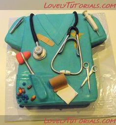 Nurse/ Doctor Cake w/ edible medical supplies Unique Cakes, Creative Cakes, Pretty Cakes, Cute Cakes, Medical Cake, Doctor Cake, Doctor Party, Novelty Cakes, Fancy Cakes