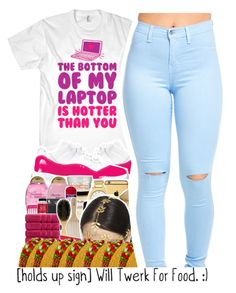 """The bottom of my laptop is hotter than you"" by destinylove66 ❤ liked on Polyvore"