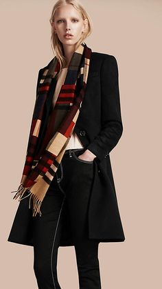 The Classic Cashmere Scarf from Burberry in check with colour block print  is made at a 64b846225b9