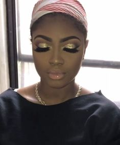 Amazing Makeup Ideas Suitable For Blacks 31 Gold Makeup for black women Gold Makeup Looks, Gold Eye Makeup, Black Girl Makeup, Girls Makeup, Hair Makeup, Prom Makeup, Gold Eyeshadow, Eyebrow Makeup, Eyeshadows