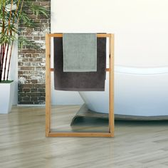 Symple Stuff Freestanding Towel Stand | Wayfair.co.uk Wall Mounted Towel Rail, Double Towel Rail, Free Standing Towel Rack, Wood Ladder, Hanging Towels, Hazelwood Home, Home Additions, Towel Holder, Bed Frame