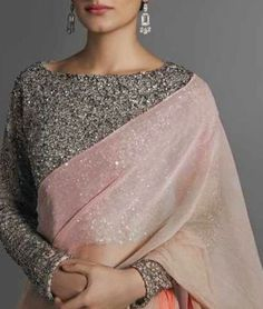 Sequined Full Saree Blouse Design With Boat Neck