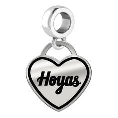 Georgetown Hoyas Heart Dangle Charm Fits Pandora Style Bracelets. Georgetown Hoyas charms can be worn on a chain or dangle them from a bracelet. Our charms have the finest detail and are the highest quality of any charm or pendant available. This new twist on our original heart dangle charm adds a border around the inside edge of the heart with the same great quality and exacting detail of the Hoyas logo.