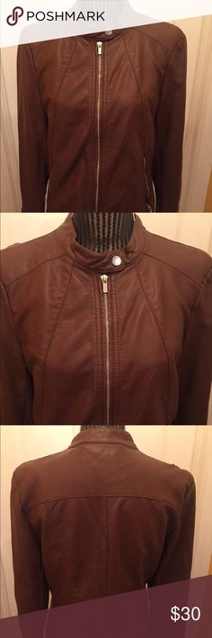 Express faux leather large jacket This is in great condition and super cute! The side of the jacket is stretchy material and I have a pic. Absolutely cute and sharp looking. It's like a chocolate brown. It measures 24 inches long, sleeves are 26 inches and bust is 20 inches. Express Jackets & Coats