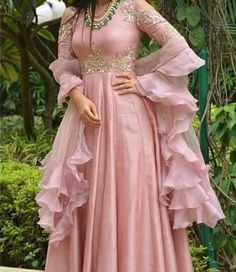 Georgette long Anarkali Gown Ruffle Organza Dupatta Hand Embroidered 2 Piece All type of Customization possible as per Requirement. Indian Wedding Gowns, Indian Gowns Dresses, Pink Gowns, Pakistani Dresses, Gown Wedding, Wedding Wear, Indian Designer Outfits, Designer Gowns, Indian Attire