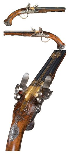 "Gold inlaid double barrel French flintlock pistol marked, ""Fillon Arquebusier du Paris"", late 18th century."