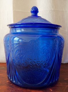 Original Cobalt Blue Royal Lace Depression Glass Cookie Jar from ...