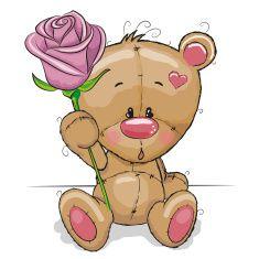 Teddy Bear with Purple Rose