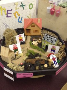 3 little pigs small world! Sensory play, provocation, loose parts, Montessori, Waldorf Traditional Tales, Traditional Stories, Fairy Tale Theme, Fairy Tales, Reggio Emilia, Classroom Displays, Eyfs Classroom, Class Displays, Physics Classroom