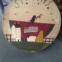 Hand Painted Cheese Box.  Painted with a beautiful primitive scene. Great for storing small items.