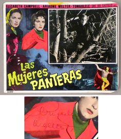 MUJERES PANTERAS, 1966 Wrestling Women, Horror, Ariadne Welter Autographed LC
