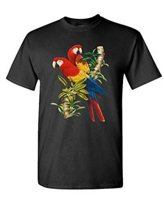 4cc4ee315cc7 SCARLET MACAWS avian parrot cockatoo birds ? Mens Cotton T-Shirt, L, Black