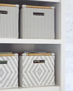 Perfectly at home wherever you place them, these bins are a pretty way to store everything from towels to toys. Inspired by our beloved Riviera Chair, these have the same chic details – a touch of rattan and a fun, woven pattern you can mix and match. Diy Storage Boxes, Decorative Storage Boxes, Baskets For Storage, Ikea Expedit, Kallax, Cardboard Crafts, Cardboard Playhouse, Cardboard Furniture, How To Make Diy