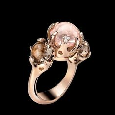 Pasquale Bruni Pink and Chocolate Pearl Ring in Rose Gold With Diamonds