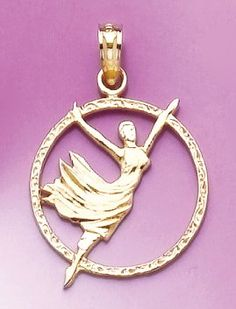 Amazon.com: 14k Gold Profession Necklace Charm Pendant, Dancer In Disc Engraved: Million Charms: Jewelry