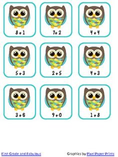 Here's an addition activity where students sort basic facts into sums greater than or less than 10. Then they place the owl addition facts in the correct tree.