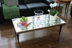 DIY Coffee Tables - Gorgeous Diy Tile Coffee Table Design for Easy Build Leather Ottoman Coffee Table, Tiled Coffee Table, Mirrored Coffee Tables, Oval Coffee Tables, Glass Top Coffee Table, Diy Coffee Table, Coffee Table Design, Diy Table, Pallet Ottoman