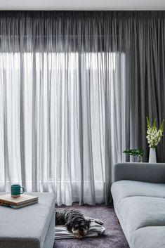Pencil Pleat Curtain In Elain – Asphalt Sheer Fabric | Window Furnishing: Curtains | Room: Dining & Theatre
