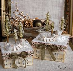 .music covered boxes with paper christmas