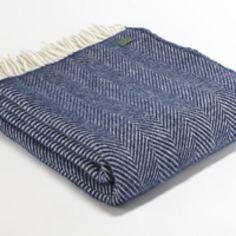 Tweedmill Pure New Wool Throw - Navy