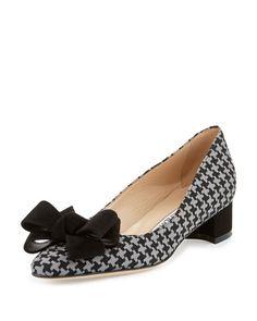 MANOLO BLAHNIK LISTONY HOUNDSTOOTH BOW PUMP, BLACK/GRAY, BLK/GREY. #manoloblahnik #shoes #
