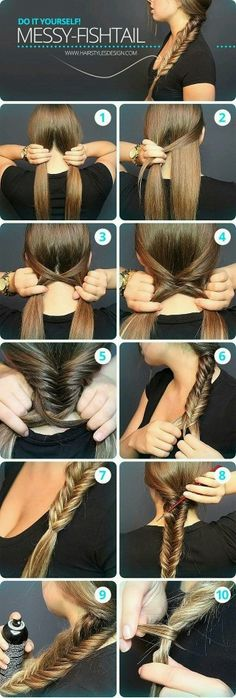 Messy Fishtail Braid Tutorial: Side Loose Braided Hairstyles - Great step by step instructions with photos!: Messy Fishtail Braid Tutorial: Side Loose Braided Hairstyles - Great step by step instructions with photos! Messy Fishtail Braids, Quick Braids, How To Fishtail, Braids Tutorial Easy, How To Braid Hair, Diy Braids, Hair Braiding Tutorial, How To Make Braids, Hairstyle Tutorials