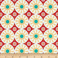 Riley Blake Ardently Austen Medallion Red from @fabricdotcom  Designed by Amanda Herring for Riley Blake, this cotton print fabric is perfect for quilting, apparel and home décor accents. Colors include shades of blue, coral, yellow, green and white.