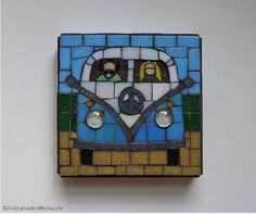 SOLD! Volkswagen Bus, Mosaic Wall Art, Glass Mosaic, Wall Hanging, Original Artwork, Naive Art, VW camper, Peace and Love Symbol (6x6 inches) by #JoGranadosMosaics on #Etsy #VolkswagenBus #VolkswagenCamper #VolkswagenMosaic #MosaicArt #Mosaic #GlassMosaic #EtsySuccess