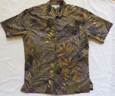 Tori Richard M Grey Tan Tropical Leaves 100% Cotton Lawn Hawaiian Aloha Shirt #ToriRichard #AlohaShirt