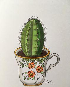 52 vind-ik-leuks, 4 reacties - plants & Illustrations ♡♡ (@drawingplantlady) op Instagram: 'Cactus in teacup drawing '
