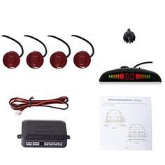EKYLIN Car Auto Vehicle Reverse Backup Radar System with 4 Parking Sensors Distance Detection  LED Distance Display  Sound Warning FIAT Red Color >>> Read more  at the image link.Note:It is affiliate link to Amazon.