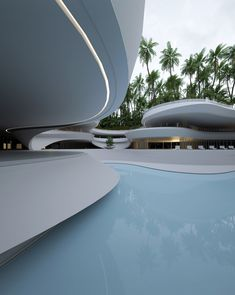 Roman Vlasov Renders A Luxurious, Multitiered Swimming Pool In A Garden Oasis, Conceptual Architecture, Parametric Architecture, Architecture Portfolio, Futuristic Architecture, Islamic Architecture, Amazing Architecture, Contemporary Architecture, Architecture Details, Chinese Architecture