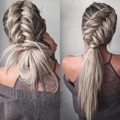 Umm, how?! @n.starck's braided fishtail look is on point . Which one do you prefer, left or right? #tuesdayhaircrush #braidgoals #hairinspo #haircrush #braidinspo #hydratingessentials #ohhellohair