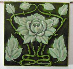 "Original English Art Nouveau tile c1904/6 6""x6""Tile ref 612 