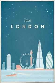 London par Henry Rivers en Affiche sous cadre en aluminium | Achetez en ligne sur JUNIQE ✓ Livraison fiable ✓ Découvrez de nouveaux designs sur JUNIQE !