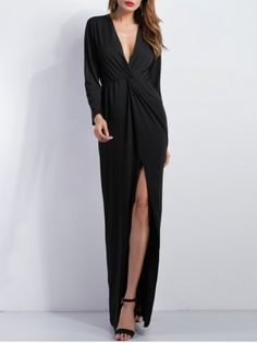 GET $50 NOW | Join RoseGal: Get YOUR $50 NOW!http://www.rosegal.com/maxi-dresses/knoted-high-slit-plunge-dress-765037.html?seid=7329543rg765037