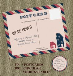 We Ve Moved Vintage Postcard Matching Door Lindsayannartistry