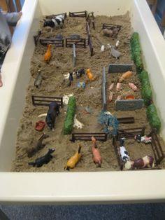 Farm Sand Table Idea - Farm to Market Preschool Theme Sensory Boxes, Sensory Table, Farm Activities, Preschool Activities, Sand Table, Barn Wood Crafts, Small World Play, Play Based Learning, Farm Theme