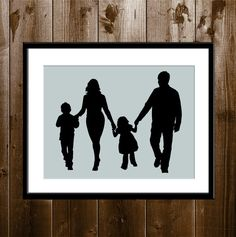 Custom Silhouette Portrait from your Photo, Familly Silhouette Wall Decor, Silhouette Print, Parents and Children Silhouette Print