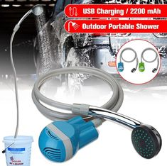 """ Material: Plastic Voltage: Current: Battery: 2200 mAh Water Flow: L/min Working Time: 60 min Charging Way: USB cable Chargin Portable Shower Head, Portable Car Washer, Portable Outdoor Shower, Car Water Pump, Washer Cleaner, Hand Held Shower, Sprinkler, Shower Heads, Shopping"