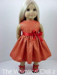Red and Gold Chevron Party Dress with sash for the American Girl Doll Gold Chevron, Chevron Dress, Doll Party, Girl Doll Clothes, My Girl, Party Dress, Flower Girl Dresses, Couture, Dolls