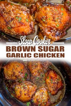 Slow Cooker Brown Sugar Garlic Chicken made with just five ingredients, you can set it in minutes and have the perfect weeknight meal! Healthy Crockpot Recipes, Slow Cooker Recipes, Cooking Recipes, Crockpot Meals, Slow Cook Chicken Recipes, Slow Cooker Chicken Thighs, Chicken Cooker, Slow Cooker Chicken Dishes, Honey Garlic Chicken