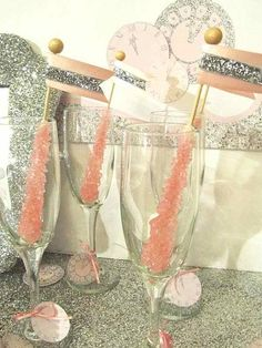 Sparkly rock candy drink stirrers, perfect for new years themed party or event #drinks #diy #candy