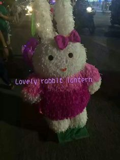 Lovely rabbit lantern with her lovely face to celebrate festival with us